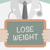 minimalistic illustration of a doctor holding a blackboard with Lose Weight text, eps10 vector