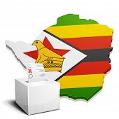 detailed illustration of a ballotbox in front of a map of Zimbabwe, eps10 vector