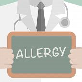 minimalistic illustration of a doctor holding a blackboard with Allergy text, eps10 vector
