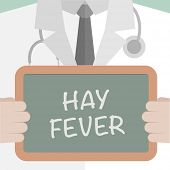 minimalistic illustration of a doctor holding a blackboard with Hay Fever text, eps10 vector