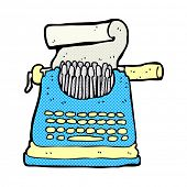retro comic book style cartoon typewriter