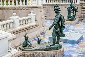foto of metal sculpture  - Ivan Tsarevitch and Princess Frog sculpture in Moscow Russia - JPG