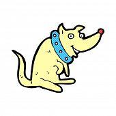 retro comic book style cartoon happy dog in big collar