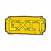 retro comic book style cartoon exit sign