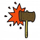 retro comic book style cartoon banging gavel