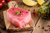 Raw Tuna Fillet With Dill, Lemon And Peppers