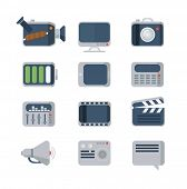Media Icons set, flat style, vector illustration