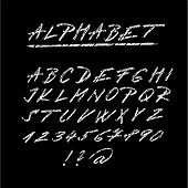 Chalk Sketched Font, Isolated Vector Alphabet Letters And Numbers