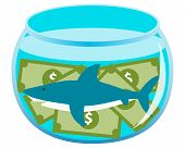 Business shark. Fish in an aquarium with money. Vector illustration