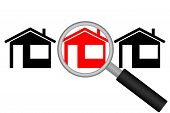 Real Estate Search. Street with houses and magnifying glass. Vector illustration