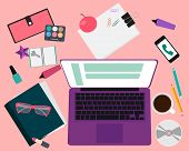 Workplace women. Desk with a laptop and office supplies. Vector illustration