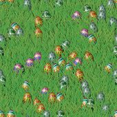Easter Grass With Eggs Seamless Texture