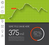 Simple infographic dashboard template with flat design graphs and charts - green version