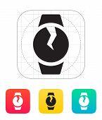 Broken round smart watch icon.