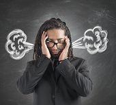 Businessman brain in smoke