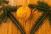 Roll Of Yellow Soft Knitting Yarn And Yew Branch