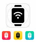 Wireless payment on smart watch icon.