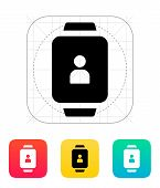 User account on smart watch icon.