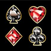 Luxury jewelry card suits on black background