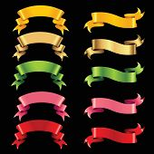set of color ribbons isolated on black