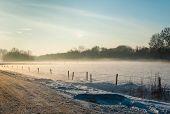 Misty Rural Landscape In Wintertime