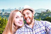 Beautiful Couple taking a selfie photo in Sydney, Australia