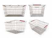 Set Of Shopping Supermarket Basket