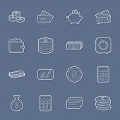 Money And Financial Thin Lines Icons Set