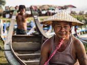 Portrait Of Burmese Boatman In Amarapura, Mandalay, Myanmar