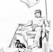 Sketch Of A Handsome Male Lifeguard