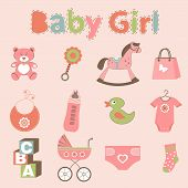 Baby girl related elements collection
