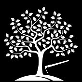 picture of hoe  - vector tree and hoe isolated on black background - JPG