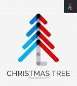 Minimal line design logo, Christmas tree business icon, branding emblem
