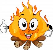 Mascot Illustration of a Bonfire Giving a Thumbs Up