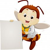 Mascot Illustration of a Bee in a Lab Coat Pointing to a Piece of Paper