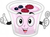 Mascot Illustration of a Cup of Yogurt Holding a Spoon and Giving a Thumbs Up