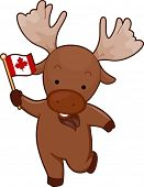 Mascot Illustration of a Moose Holding a Canadian Flag