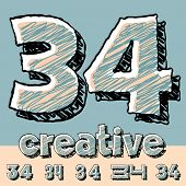 Vector set of funny sketch alphabet. Vector illustration of hand drawing font. Numbers 3 4