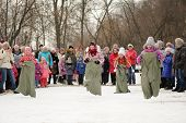 Sack-race During Winter Maslenitsa Carnival In Russia