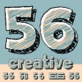 Vector set of funny sketch alphabet. Vector illustration of hand drawing font. Numbers 5 6