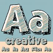 Vector set of funny sketch alphabet. Vector illustration of hand drawing font. Letter A