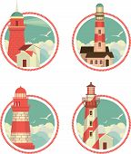 image of lighthouse  - Marine emblem round shape with a picture of a lighthouse on the background of sky - JPG