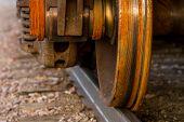 Train wheel on railroad track