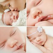 stock photo of sleeping  - A collage of four pictures - JPG