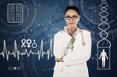 Doctor And Virtual Medical Background