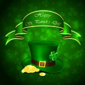foto of leprechaun hat  - Patricks Day background with clover green hat and leprechauns gold - JPG