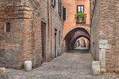 Via Delle Volte, Medieval Alley In Ferrara, Italy