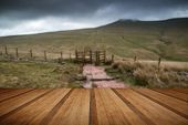 Landscape Image Of Corn Du Peak In Brecon Beacons Mountain Range In Britain With Wooden Planks Floor