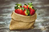 Group Of Strawberries In Sack