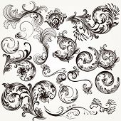 Collection Of Vector Decorative Swirls In Vintage Style